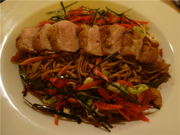 duck with soba noodles