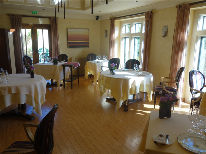 terrace  dining room. Review of UK French restaurant Whatley Manor by Andy Hayler in