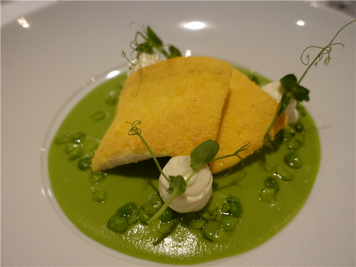 halibut and peas