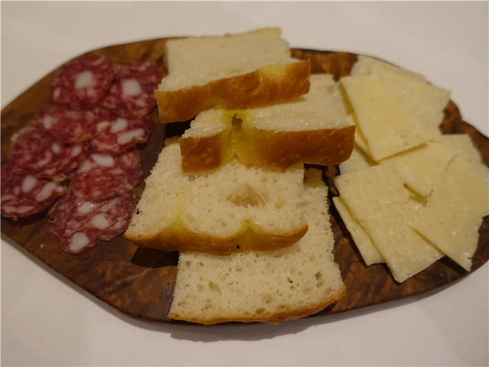 sausage, Parmesan and focaccia nibbles