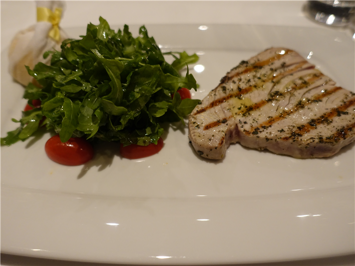 seared tuna with rocket salad